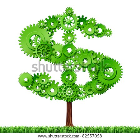Making money and building wealth represented by a growing tree in the shape of a dollar sign made of gears and cogs showing the concept of success and profits from manufacturing and services.