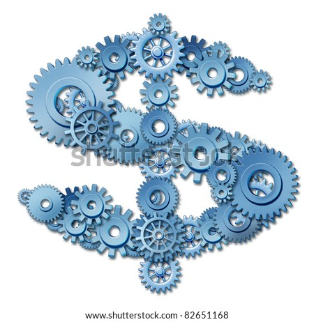 Making money and wealth through connections and networking represented by a shape of a dollar sign made of gears and coggs showing the concept of success and profits from manufacturing at factories.