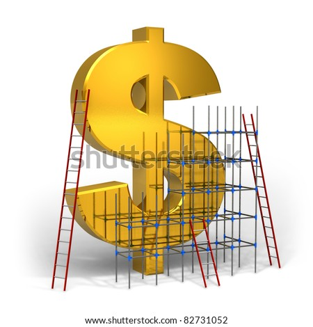 Making money concept: golden dollar sign with scaffold and ladders