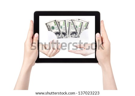making money concept isolated on a white