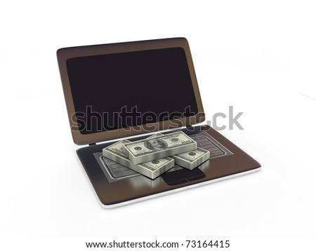 Making Money. Dollar bills on laptop isolated on white background. High quality 3d render.