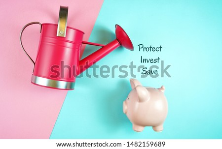 Making money grow, savings and investments concept with piggy bank and watering can, with investment text.