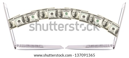 making money with computer concept isolated - stock photo