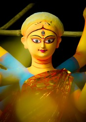 Making of goddess Durga idol. These idols are made for Durga puja, the biggest festival of india.