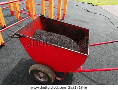 Making of rubber floor on playground. ( Ethylene Propylene Diene Monomer EPDM)