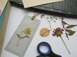 Making pressed plant bookmarks with rope