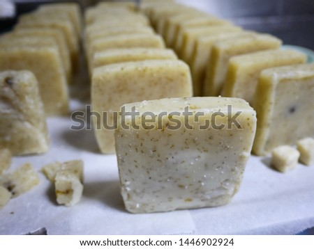 Making soaps. A scene of drying in a soap factory.