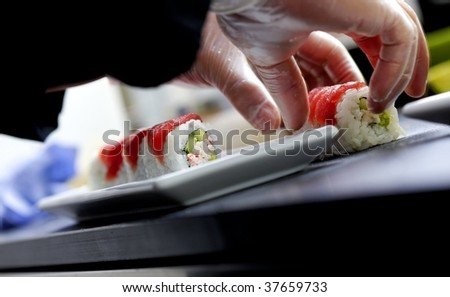 Making sushi and rolls on plate