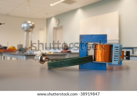making the light on in the experimental physics classroom - stock photo