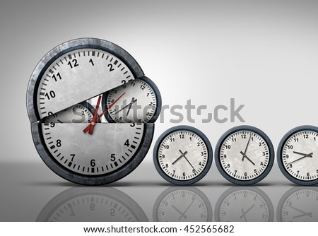 Making time and multitasking concept as a symbol for increase of business efficiency and working hours management as an open clock releasing smaller clocks as a 3D illustration.