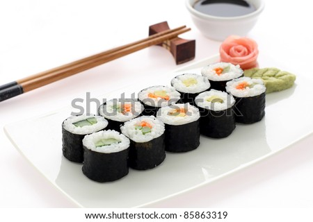 Makizushi. Delicious sushi rolls on white plate with chopsticks and wasabi. Maki