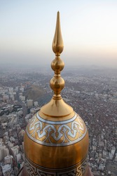 Makkah Royal Clock Tower dome. Top view showing the city scape of Makkah, Saudi Arabia.