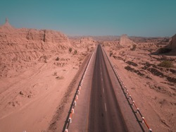 Makran Coastal Highway, Gwadar, Balochistan, Pakistan.  Makran Coastal Highway connects Karachi to Gwadar Port which is also the part of China Pakistan Economic Corridor.