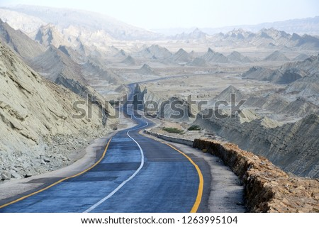 Makran Coastal Highway or National Highway 10 in Pakistan which extends along Pakistan's Arabian Sea coast from Karachi in Sindh province to Gwadar in Balochistan province #1263995104