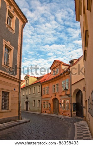 Mala strana or Lesser side, beautiful old part of Prague, the Czech capital and one of the most attractive tourist destinations in Europe. - stock photo