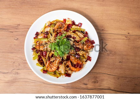 Mala Xiang Guo (Hot Pot) - china popular dish, stir fried assorted mixed vegetables, seafood, mushroom and meat in hot chilli seasoning - Image Stock photo ©