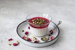 Malabi (muhallebi) milk pudding with pistachios. Arabic desert