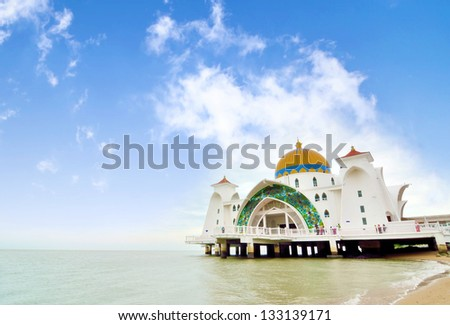Malacca Straits Mosque facade on August 29, 2012 in Malacca, Malaysia