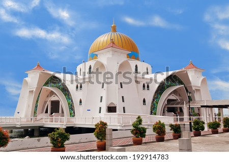 Malacca Straits Mosque Masjid Selat Melaka It is a mosque located on the man-made Malacca Island near Malacca Town Malaysia