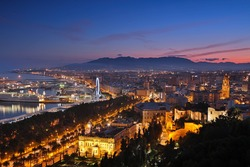 Malaga cityscape after sunset. Spain