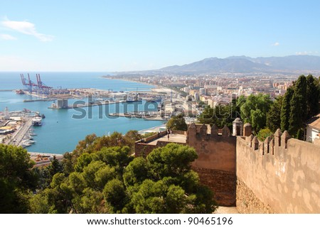 Malaga in Andalusia, Spain. Aerial view of port and the city. - stock photo