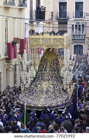 MALAGA, SPAIN - APRIL 19: traditional processions of Holy Week in the streets on April 19, 2011 in Malaga, Spain. Procession of the Virgen de Gracia.