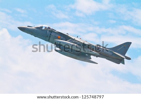 MALAGA, SPAIN-MAY 28: Aircraft AV-8B Harrier Plus taking part in an exhibition on the day of the spanish army forces on May 28, 2011, in Malaga, Spain - stock photo