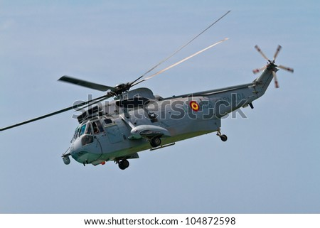 MALAGA, SPAIN-MAY 28: Helicopter Westland SH-3D/W Seaking of the Spanish Navy taking part in an exhibition on the day of the spanish army forces on May 28, 2011, in Malaga, Spain - stock photo