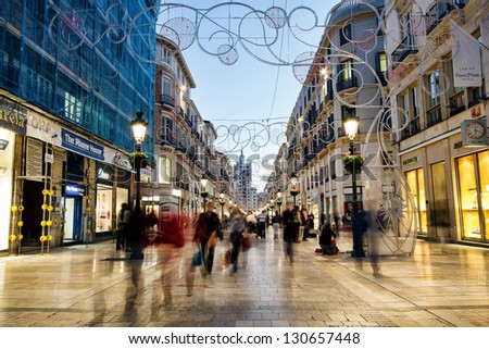 MALAGA, SPAIN - NOVEMBER 20: Calle Larios is a 300 meters long street which is main commercial street of the city and the fifth most expensive shopping street in Spain, NOV 20, 2012 in Malaga, Spain