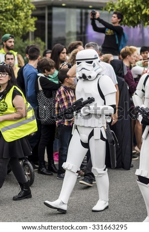 MALAGA, SPAIN - OCTOBER 24: People of 501st Legion, official costuming organization, take part in the Star Wars Parade wearing perfectly accurate costumes on OCTOBER 24, 2015 in MALAGA.