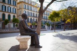 Malaga (Spain). Pablo Picasso Bronze Statue in Plaza de la Merced, Malaga city.