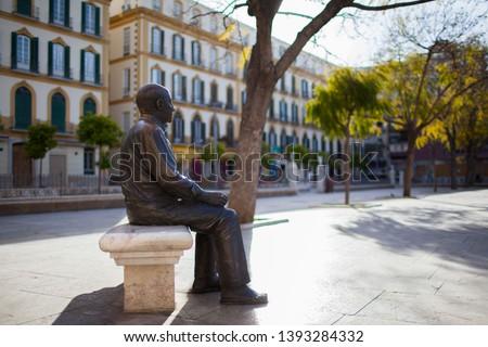 Malaga (Spain). Pablo Picasso Bronze Statue in Plaza de la Merced, Malaga city.