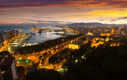 Malaga with Port from castle in evening time.  Andalusia, Spain