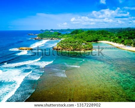 Malang, East Java / Indonesia - Jan 14, 2019: Scenic Aerial View of Balekambang Beach, Asia #1317228902