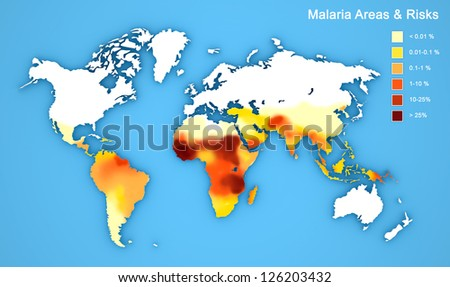 Malaria map disease spread.