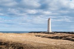 Malarrif Lighthouse on the Snaefelssnes Peninsula in Iceland. Icelandic coast and beautiful scenery of Scandinavia