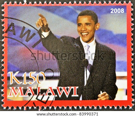 MALAWI - CIRCA 2008: A stamp printed in Malawi shows the 44th President of United States of America, Barack Obama, circa 2008