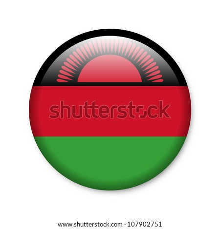 Malawi - glossy button with flag