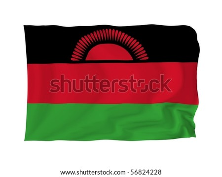 Malawi. High resolution African Flag series. With fabric texture.