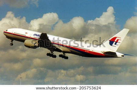 Malaysia Airlines 9M-MRD that crashed july 17, 2014. Scan of the actual aircraft that crashed.