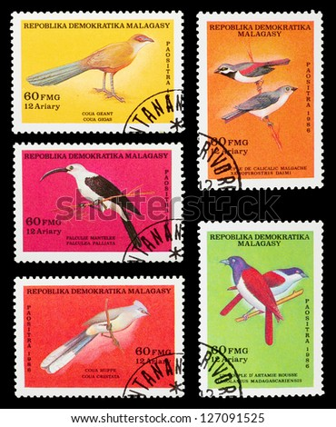 MALAYSIA - CIRCA 1986: A set of postage stamps printed in MALAYSIA shows birds, series, circa 1986