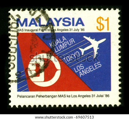 MALAYSIA - CIRCA 1986: A stamp printed in MALAYSIA shows image of the Malaysia Airlines System Berhad , DBA Malaysia Airlines (abbreviated MAS), is the government-owned flag carrier of Malaysia circa 1986
