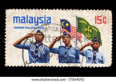 MALAYSIA - CIRCA 1974: A stamp printed in Malaysia shows Jambori Malaysia (Scout Jamboree), circa 1974