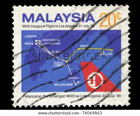MALAYSIA - CIRCA 1986: A stamp printed in Malaysia shows MAS Inaugural Flight to Los Angeles on 31 July 1986, circa 1986