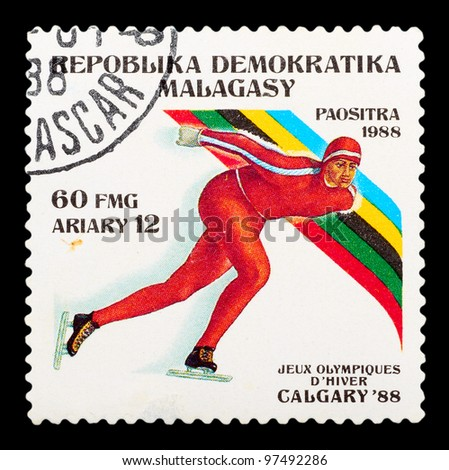 MALAYSIA-CIRCA 1988: The postal stamp printed in MALAYSIA shows skating, series Olympic Games in Calgary 1988, circa 1988