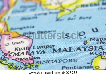 Malaysia close up on map southeast asia countries stock photo