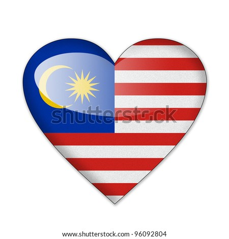 Malaysia flag in heart shape isolated on white background
