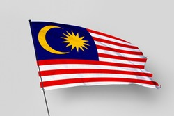 Malaysia flag isolated on white background. National symbol of Malaysia. Close up waving flag with clipping path.