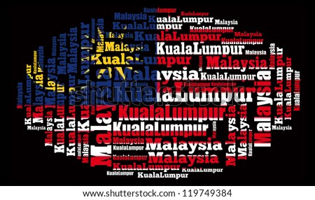 Malaysia & Kuala Lumpur info-text and arrangement concept on black background (word cloud)