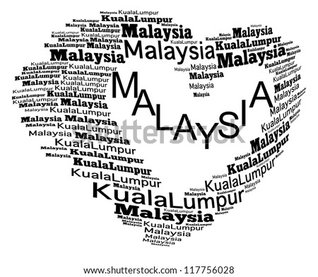 Malaysia & Kuala Lumpur info-text graphics composed in love sign shape concept (word cloud)